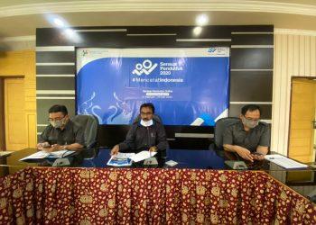 Kepala Badan Pusat Statistik Provinsi Jambi, Wahyudin saat memimpin kegiatan rilis bulanan via daring kepada awak media. (Dok. Istimewa)