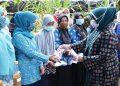 Rahima Saat Memberikan Masker Kepada PKK Tanjung Jabung Timur. (Foto By. Humas Pemprov Jambi)