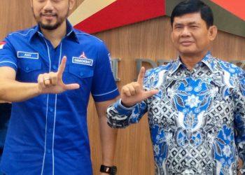 Ketua Umum Partai Demokrat, Agus Harimurti Yudhoyono (AHY) bersama Cawagub Syafril Nursal.